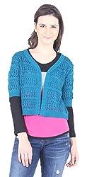 L'Elegantae Women's Shrug (LE-FW-15_517-Teal-D, Blue, X-Large)