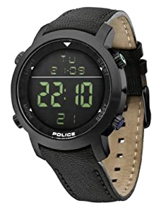 Police - PL.12898JSB-02D - Montre Homme - Quartz Digital - Cadran Noir - Bracelet Cuir Noir