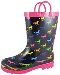 Smoky Mountain Ponies Kids Rubber Poop Kicker Boot - Black/Multi Child 9