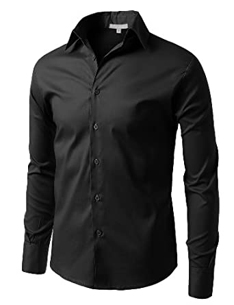 LE3NO Mens Comfortable Slim Fit Tailored Button Down Shirt with Stretch