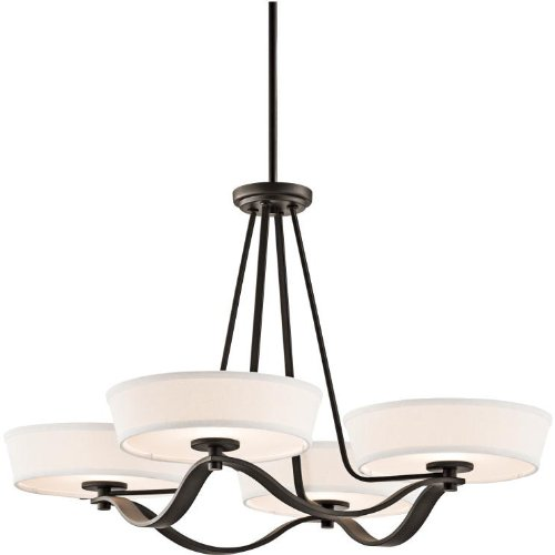 Awesome Kichler Lighting OZ Glissade Light Chandelier Old Bronze Finish with Light Beige Fabric Shades
