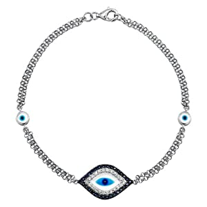Victoria Kay 14k White Gold Sapphire and Diamond Evil Eye Bracelet (1/8cttw, JK, I2-I3)