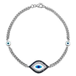 Victoria Kay 14k White Gold Sapphire and Diamond Evil Eye Bracelet (1/8cttw, JK, I2-I3)