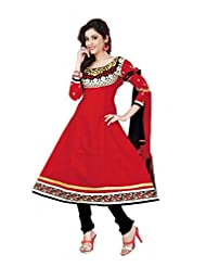 Khushali Women's Cotton Unstitched Anarkali Salwar Suit (Red)