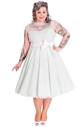 Hell Bunny Plus Alice in Wonderland Gingham Check White Bow Belt Party Dress