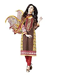Admyrin Women Brown and Yellow Cotton Dress Material