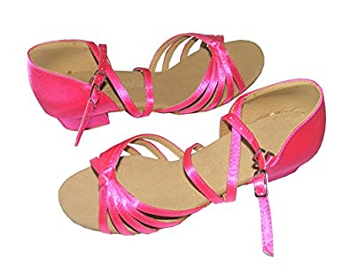 Child girls latin dance shoes of satin Five Knot -Apricot color(EU28~EU35) (EU33/20.5CM, Pink)