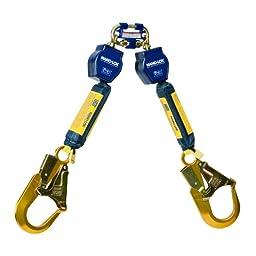 DBI/Sala Nano-Lok, 3101277 Fall Protection SRL, 6-Foot Twin Leg, 3/4-Inch Dyneema Poly Web, Alum Rebar Hooks, Quick Connect Harness Mount,Navy/Yellow