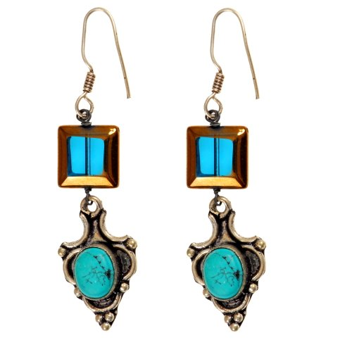 Fashionable Turquoise Silver Earrings with Glass Beads