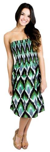 La Leela 100% Cotton Ikkat Printed Halter Smocked Short Tube Dress Green,Large