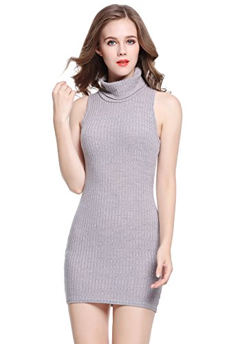 Women's Dress Sleeveless High Neck Stretch Slim Ribbed Turtleneck Grey Knitting Bodycon (L)