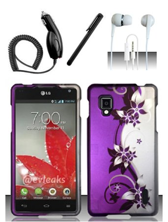 4 Items Combo For Lg Optimus G / Eclipse 4G Lte Ls970 (Sprint) Purple Silver Vines 2D Design Snap On Hard Case Protector Cover + Car Charger + Free Stylus Pen + Free 3.5Mm Stereo Earphone Headsets