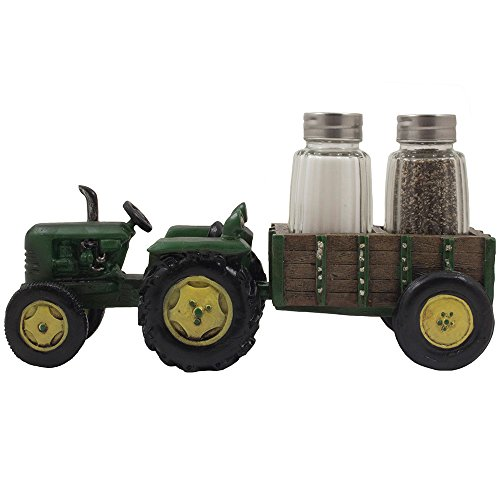 Vintage Country Farm Tractor and Wagon Glass Salt and Pepper Shaker Set with Holder in Retro Restaurant or Rustic Kitchen Decor and Decorative Gifts for Farmers