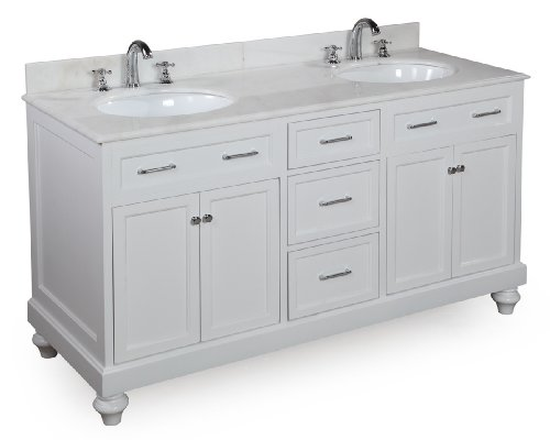 Amelia 60-inch Bathroom Vanity (White/White): Includes a White Solid Wood Cabinet, Soft Close Drawers, Self-Closing Doors, White Marble Countertop, and Two Ceramic Sinks