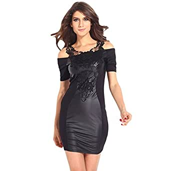 Amazon.com: Women's Dress Short Sleeve Leather PU Patchwork