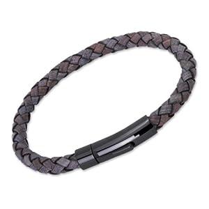 Unique Men 21cm Antique Black Leather Bracelet With Black Stainless Steel Clasp from Unique Jewelry Ltd