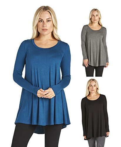 Free to Live Women's 3 Pack: Loose Flare Fit Tunics (Black, Charcoal, Teal),Medium
