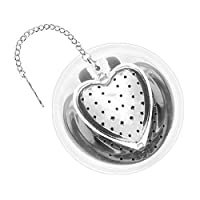 1 X Heart Stainless Steel Tea Infuser with Drip Tray - 2.5 Inch