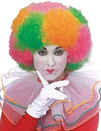 Rubie's Costume Neon Afro Rainbow Clown Wig, Multicolored, One Size