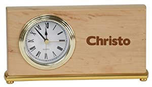 Personalized wooden desk clock with engraved name: Christo (first name/surname/nickname)