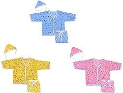 Dream Baby Cotton Jhabla, Cap, Diaper Set - Pack of 3 Color (Multi-color, 0-3 Months)