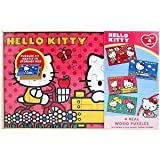 Hello Kitty 4 Wood Puzzles In Wooden Storage Box