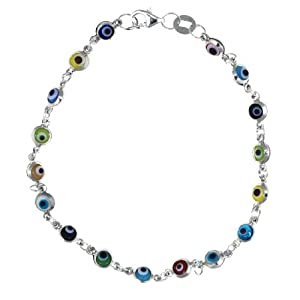 Sterling Silver Small Multi-Colored Guardian Eye Bracelet, 7""
