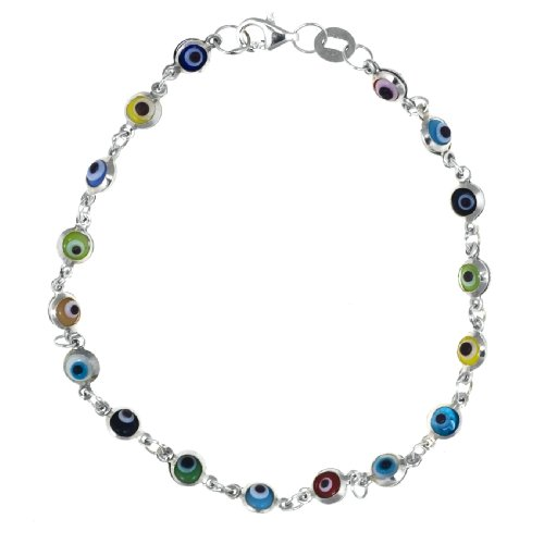 Sterling Silver Small Multi-Colored Guardian Eye Bracelet