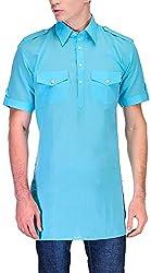 Gazi Men's Khadi Cotton Pathani Kurta (GFSK_201511_42, Blue, 42)