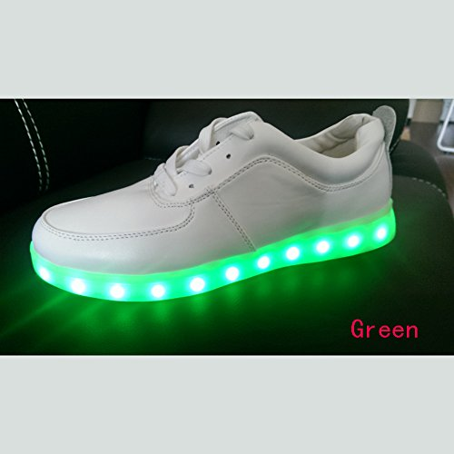 Acever Women'S Led Sports Shoes With Super Nano Upper Rubber Soles Led Sneakers Christmas Gift Philips Led Component Led Shoes (Us7-Women-Green)