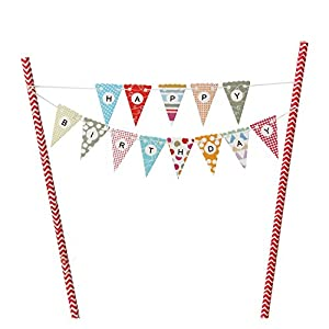 Mini Happy Birthday Cake Bunting Banner Cake Topper ,Multicolor Pennant Flags with Red Pole ,Mini Banner Decor (Red) from Innoru