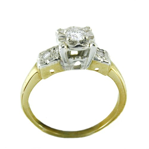 14k Antique Diamond Engagement Ring Circa 1940s Illusion