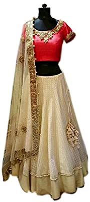 Fotoable Women's Embroidered Georgette & Net White & Red Lehenga Choli (Lehnga_FO159036AS_Free Size_White&Red)