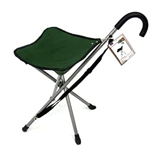Amazon Com Folding Cane Chair Walking Stick With Stool