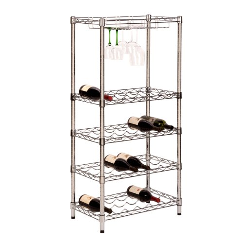 Honey-Can-Do SHF-02922 5-Tier Steel Wire Urban Wine Bottle Rack with 24-Cradles and 4-Caddies, 24 by 49-Inch