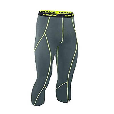 Baleaf Men's Cool Running Fitness Compression Capri Leggings Tights
