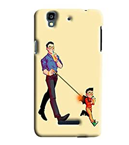 Blue Throat Kid And Dad Drinking Printed Designer Back Cover/ Case For Micromax Yu Yureka