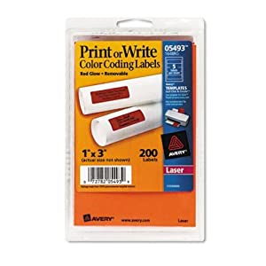 Avery Self-Adhesive Removable Labels, 1 x 3 Inches, Red Neon, 200 per Pack (05493)