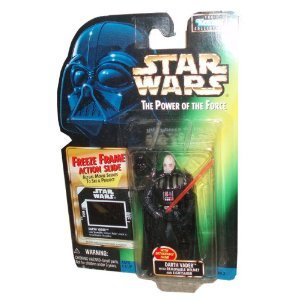 Star Wars Year 1997 The Power of the Force 4 Inch Tall Action Figure - DARTH VADER with Detachable Hand, Removable Helmet and Red Lightsaber Plus Bonus Freeze Frame Action Slide