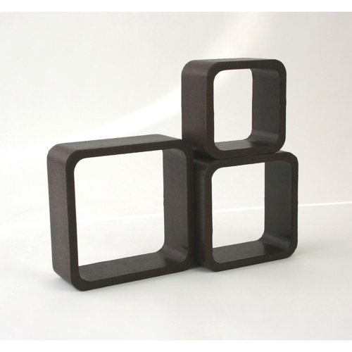 Homestyle4u Retro Cube Design Wandregal Wandboard Regal Würfel 3 er Set Kunst Leder Braun