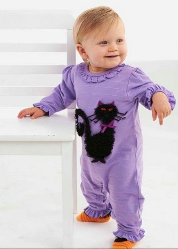 Mud Pie Unisex-Baby Newborn Cat One Piece Sleeper, Multi, 9-12 Months back-81343