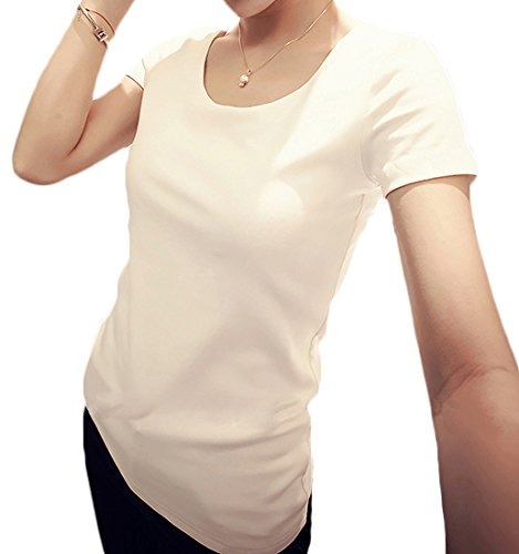 スタシディーゾ(Stacidizo) パフスリーブ 刺繍 長袖 シンプル半袖 Tシャツ カットソー 半袖ホワイト M