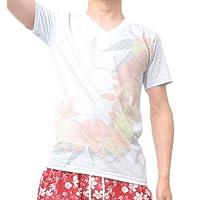 (ビーノ)BENO 裏刷りボタニカル柄プリント半袖VネックTシャツ