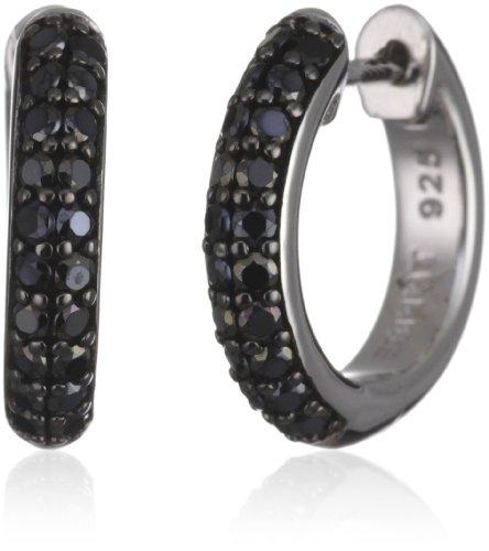 Esprit Damen-Creolen elegance black 925 Sterlingsilber 40 Zirkonia schwarz ESCO90704B000
