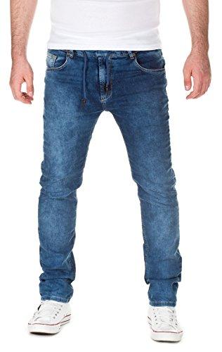 WOTEGA Uomo Jogg Sweatpants in Jeans-Look David slim , medium blue (20441), W29/L34