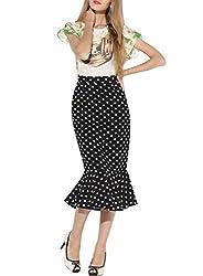 Missmay Women's Wear to Work Casual Office Ladies Ruffle Fish Tail Pencil Skirts Calf Midi Dresses