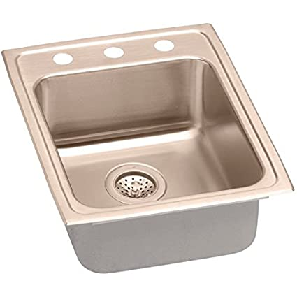 Elkao|#Elkay LRAD1722402-CU 18 Gauge Cuverro Antimicrobial copper 17 Inch x 22 Inch x 4 Inch single Bowl Top Mount Sink 2 Hole,