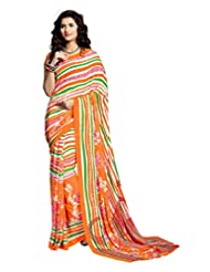Orange & Green Color Georgatte Printed Sari