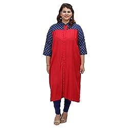 Damyantii Women's Plus Size Straight Red Cotton XXL Kurta