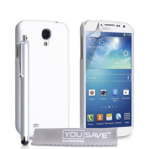 Samsung Galaxy S4 Zubehör Tasche Weiß Harte Hyrbide Rückseite Hülle Mit Griffel Stift